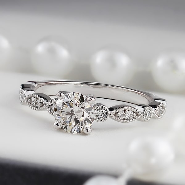 Auriya 14k Gold Vintage 1ct Round Moissanite Engagement Ring. Opens flyout.