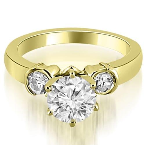 1.00 cttw. 14K Yellow Gold Half Bezel Round Cut Diamond Engagement Ring
