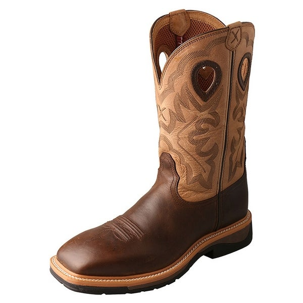 Twisted X Work Boot Men Lite Steel Toe Red Buckle Crazy Horse