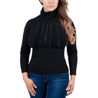 Maglierie Di Perugia Black Rolled Neck Ruffled Sweater