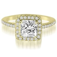 1.00 cttw. 14K Yellow Gold Princess And Round Cut Diamond Halo Engagement Ring