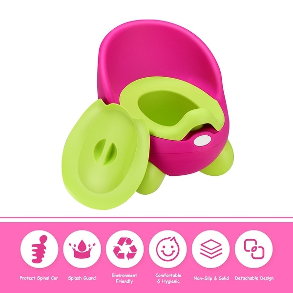 Costway Toddlers Potty Training Toilet Chair Splash Guard Detachable Seat Boys Girls - Pink
