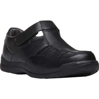 Propet Men's Bayport Fisherman Sandal Black Leather
