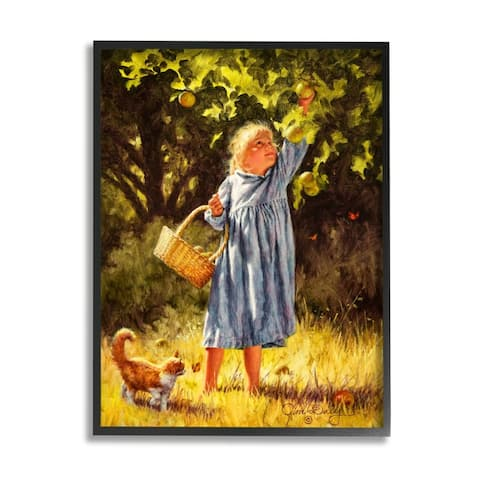 Stupell Industries Country Girl Reaching for Apple with Cat Framed Wall Art