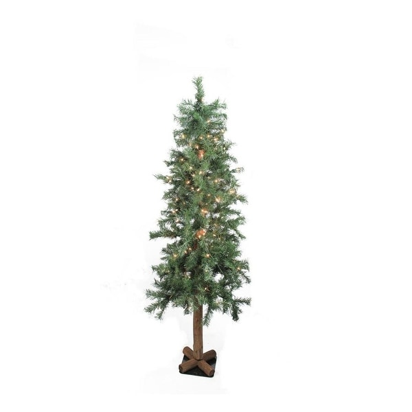 """9' x 52"""" Pre-Lit Traditional Woodland Alpine Artificial Christmas Tree - Clear Lights - green"""