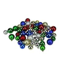 "50ct Traditionally Colored Shatterproof Shiny and Matte Christmas Ball Ornaments 1.5""-2"" - Red"