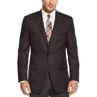 Calvin Klein Slim-Fit Tonal Herringbone Sportcoat 38 Short 38S Brown Blazer