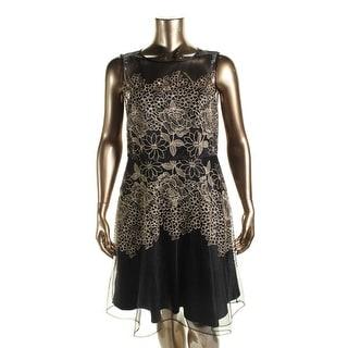 Tahari ASL Womens Michael Metallic Embroidered Cocktail Dress