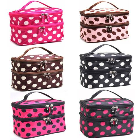 Adorable Polka Dotted Two-Layer Cosmetic Makeup Bag-6 Colors To Pick From - Brown w/White Dots