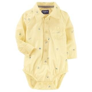 OshKosh B'gosh Baby Boys' Button-Front Poplin Bodysuit, 6-9 Months
