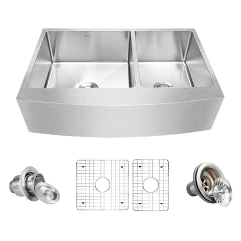 "Inoxs 36"" x 21"" x 10"" Farmhouse Apron Front 60/40 Double Bowl 16 Gauge Stainless Steel Kitchen Sink"