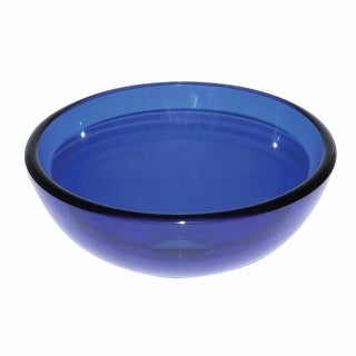 Blue Tempered Glass Mini Vessel Bowl Sink Renovator's Supply