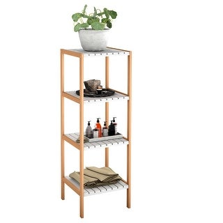 COSTWAY 4-Tier Bamboo Utility Shelves Domestic Storage Freestanding Units Display Shelf
