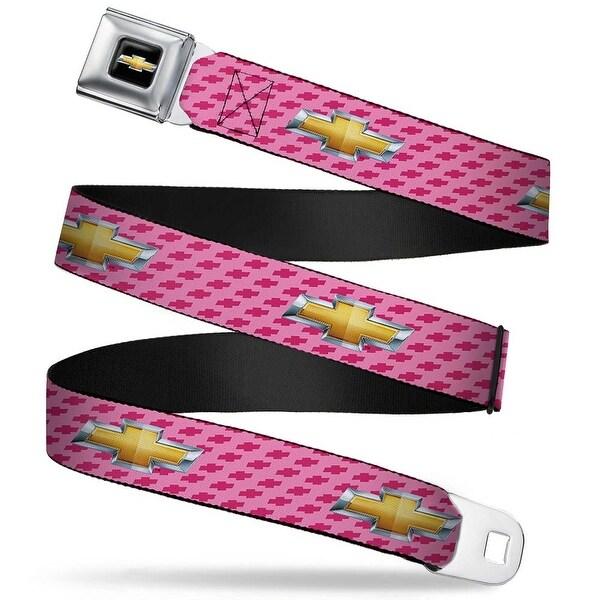 Chevy Bowtie Full Color Black Gold Chevy Gold Bowtie W Logo Pink Webbing Seatbelt Belt