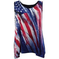 Women Plus Size Sleeveless Special Star Print Summer Tank Top Blue Red
