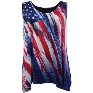 Women Plus Size Sleeveless Special Star Print Summer Tank Top Blue Red (3 options available)