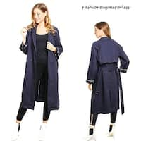 Haute London Navy Double Breasted Long Drapey Hunting Trench Coat