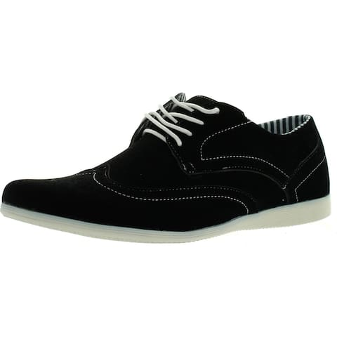 Coronado Mens Casual Shoes Cody-4 Faux Suede Soft Comfort Oxford With A Classic Wing Tip Toe