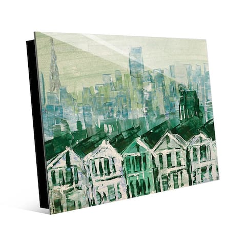 Kathy Ireland San Francisco Streets - Rowhouses in Green Abstract on Acrylic Wall Art Print