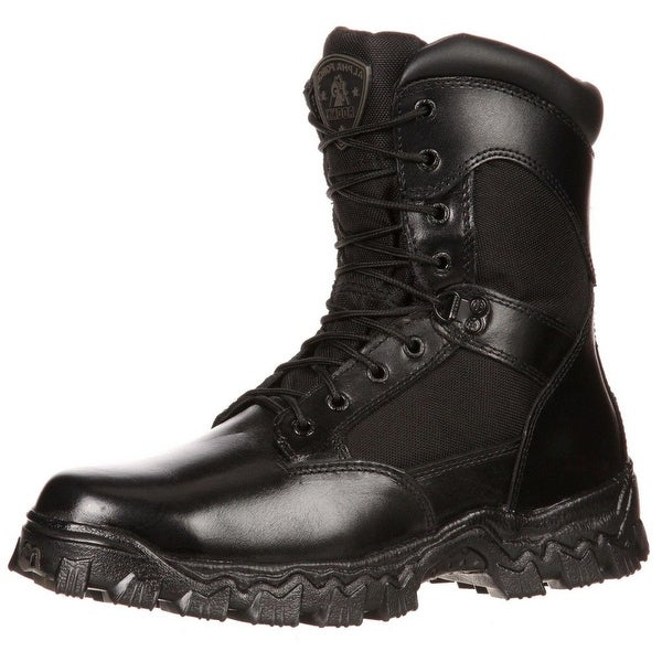 "Rocky Work Boots Mens 8"" Alpha Force Leather Waterproof Black"