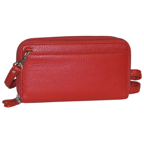 Buxton Pebbled Double Zip String Along Wallet RED