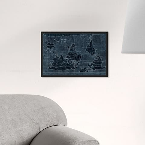 Oliver Gal 'Upside-Down Map of the World Noir' Maps and Flags Wall Art Framed Canvas Print World Maps - Blue, White