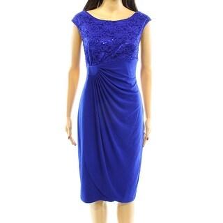 Connected Apparel NEW Blue Women's 14 Sequin Faux Wrap Sheath Dress