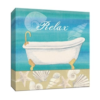 """PTM Images 9-152652  PTM Canvas Collection 12"""" x 12"""" - """"Seashells Bath I"""" Giclee Tubs Textual Art Print on Canvas"""