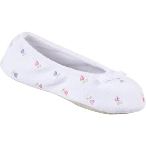 Isotoner Women's Terry Floral Embroidered Ballerina White