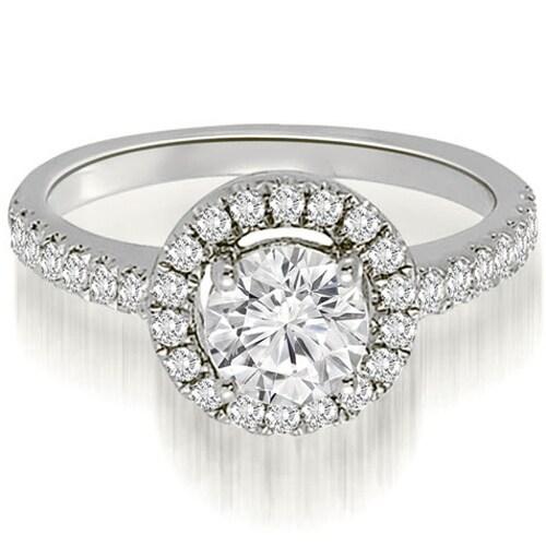 0.75 cttw. 14K White Gold Halo Petite Round Cut Diamond Engagement Ring