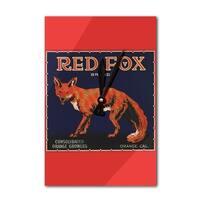 Orange CA Red Fox Brand Citrus Crate Vintage Label (Acrylic Wall Clock) - acrylic wall clock