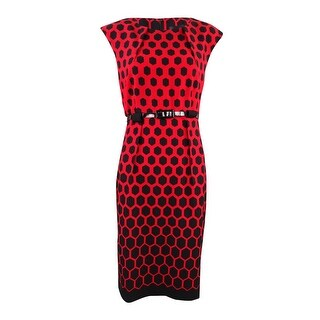 Connected Women's Belted Honeycomb-Print Sheath Dress (8, Red) - Red - 8
