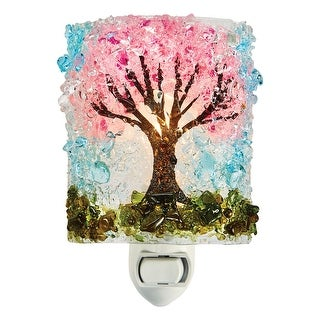 Reborn Glass Four Seasons Night Light: Spring Cherry Blossoms - Hand Made Fused Glass Art Glass Upcycled Bottle Glass