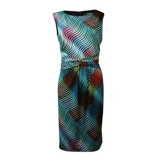 Ellen Tracy Women's Sheath Print Dress - teal/multi - 12