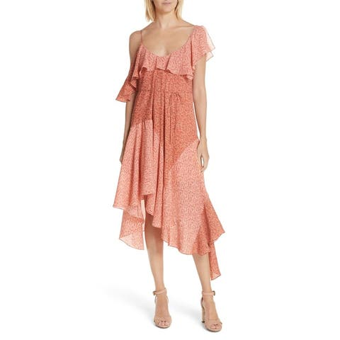 Joie Womens Dress Pink Size Large L Shift Silk Cold Shoulder Ruffle
