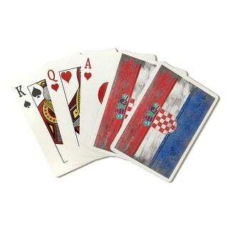 Rustic Croatia Country Flag - Lantern Press Artwor (Poker Playing Cards Deck)
