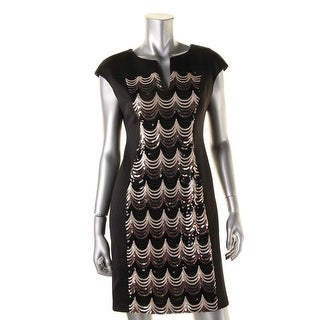 Connected Apparel Womens Petites Sequined V-Neck Cocktail Dress