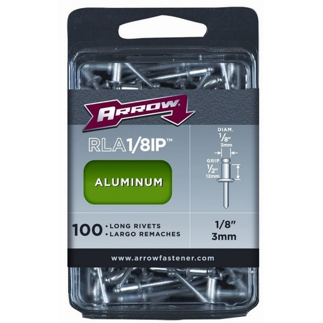 Arrow Fastener RLA1/8IP Long Aluminum Industrial Rivets, 1/8 x 1/2, 100-Count