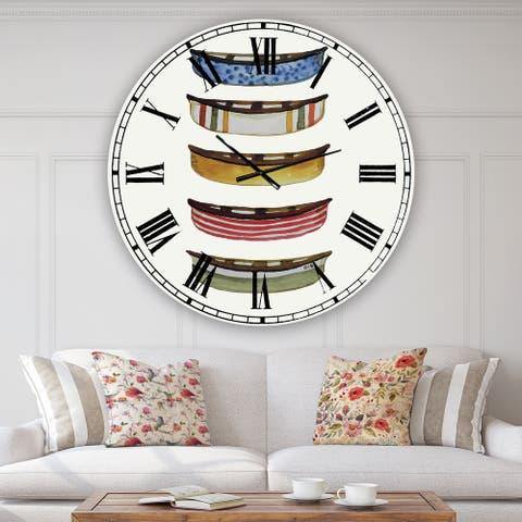 Designart 'Five Canoes' Large Lake House Wall Clock