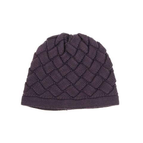Bottega Veneta Men's Purple Wool Knitted Beanie Woven Pattern 300547 5000 - Small