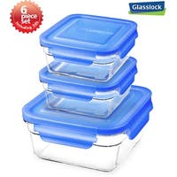 Glasslock 6 Piece Square Food Container Storage Set
