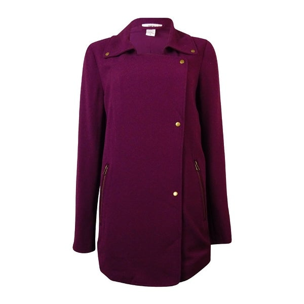 Bar III Women's Oversized Crepe Moto Jacket - italian plum