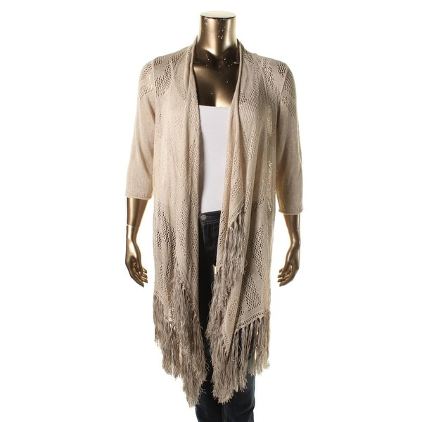 Nic + Zoe Womens Plus Cardigan Sweater Linen Open Front