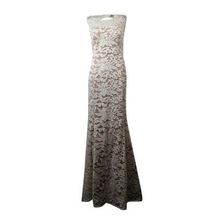 Adrianna Papell Women's Illusion Embroidered Mermaid Gown - White/Nude