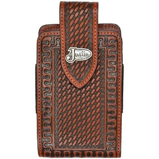 3D Western Cell Phone Case Adult Clip Leather Magnetic Tan
