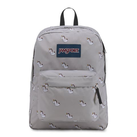 JanSport Superbreak Classic Backpack - Web Haul Handle Lightweight - Unicorn Gray - Unicorn Gray