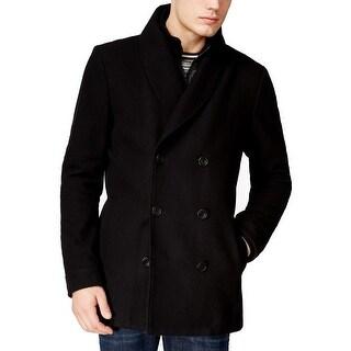 American Rag NEW Black Men Size Large L Zip-Bibbed Peacoat Wool Jacket