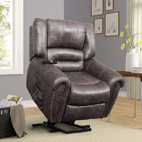 Faux Leather Heavy-Duty Power Lift Recliner Chair