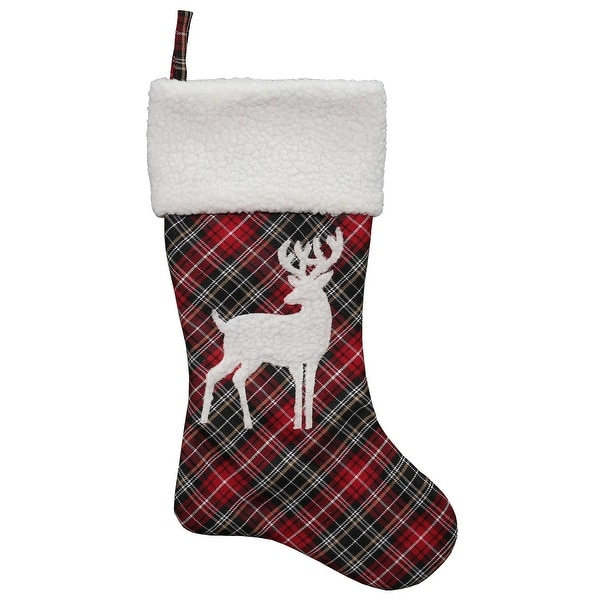 """20"""" Red, White, Khaki and Black Plaid Decorative Christmas Stocking with Deer Applique"""