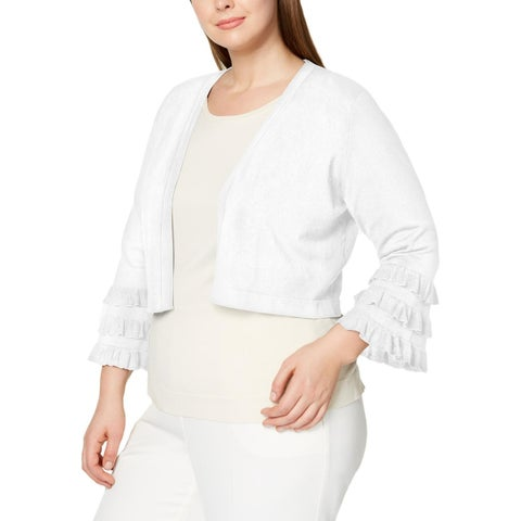 Calvin Klein Womens Plus Cardigan Sweater Open Front 3/4 Sleeves